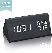 Amazon Com Jchornor Digital Alarm Clock Led Wood Alarm Clock With Usb Charger Dual Temperature Humidity Detect In 6 Adjustable White Brightness Desk Bedside Clock For Bedroom Kids Room Office Black Kitchen