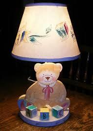 Teddy Bear Lamp Baby Nursery Lamp W Fabric Shade Child S Room Lamp 18 5 Tall Ebay