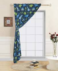 1 Panel Dinosaur Blue Kids Bedroom Rod Pocket Window Curtain Treatment Includes One Panel 60 In Wide X 84 In Length With One Matching Tie Back Walmart Com Walmart Com