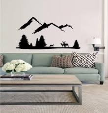 Decal Deer Mountain Scene 3 With Three Deer Wall Decal 45 X 60 Blk Walmart Com Walmart Com