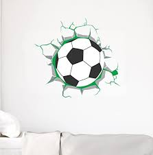 Amazon Com Soccer 3d Broken Wall Decor Ball Coming Through The Wall Effect Vinyl Sticker Sport Themed Design For Any Room Home Big Decal Cg768 42 Width By 38 Height Home Kitchen
