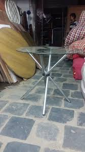 round metal glass top table s a