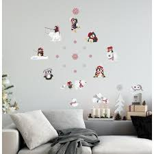 Borders Unlimited 10 In Multi Arctic Antics Applique Wall Decal Stickers With Penguins And Polar Bears 10020 The Home Depot