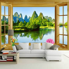 Shop Custom Wall Mural Wallpaper Room Window Natural Mountain Water Landscape Eco Friendly Non Woven Printed Wallpaper Wall Murals 3d Online From Best Wall Stickers Murals On Jd Com Global Site Joybuy Com