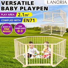 6 Panels 6 8 Panels Wood Baby Playpen Kids Play Yard Fence On Onbuy