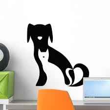 Latitude Run Dog And Cat Silhouette Peel And Stick Graphic Wall Decal Wayfair
