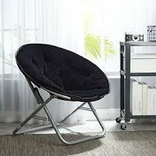 Black Saucer Chair Dorm Room Modern Kids Bedroom Furniture Soft Faux Fur Fluffy Ebay