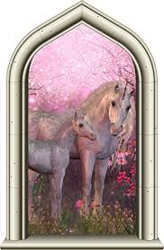 24 Castle Window Princess Instant View Unicorn And Baby Foal 1 Wall Decal Kids Room Sticker Home Office Art Decor Den Man Cave Mural Graphic Small Baby B01mehrcd7