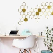 Amazon Com Honeycomb Wall Decals Geometric Wall Decals Gold Vinyl Decals Honeycomb Decal Vinyl Wall Decals Living Room Decals Wall Sticker Ga46 Handmade
