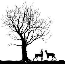Kids Room And Nursery Wall Decal Sticker Black Tree And Deer Etsy