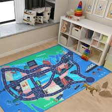 Kids Area Rugs Car Play Crawling Activity Mat Road Floor Game Carpets For Playroom Bedroom Classroom Educational Learning Game 4 11 X 2 7 Map Of Usa Walmart Com Walmart Com