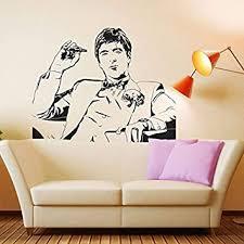 Amazon Com Scarface Movie Tony Montana Wall Decal Decor Sticker Vinyl Poster Wall Art Scarface Wall Decal Scarface Poster Scarface Decor 75cmx60cm Kitchen Dining