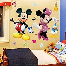 Amazon Com Mickey Minnie Mouse Kids Room Decor Wall Sticker Cartoon Mural Decal Home 1pc Home Improvement