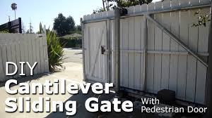 Diy Cantilever Sliding Gate With Pedestrian Door Galvanized Steel Pipe Framing Youtube
