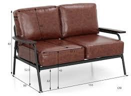 jaa metal 2 seater sofa pu brown