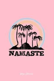 namaste palm trees beach yoga