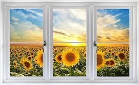 3d Sunset Sunflower Field Farm Landscape Door Sticker Pvc Waterproof Wall Mural For Sale Online Ebay