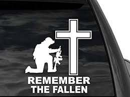 Amazon Com Fgd Remember The Fallen Kneeling Soldier Cross Window Decal Sticker In White 8 X7 5 Us Military Memorial Nftf5 Universal Car Truck Suv Everything Else