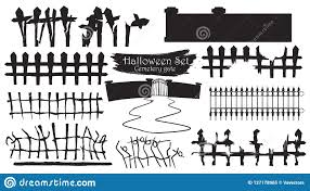 Spooky Cemetery Gate Silhouette Collection Of Halloween Vector I Stock Vector Illustration Of Cemetery Iron 127178965