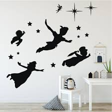 Peter Pan Character Silhouettes Childrens Room Vinyl Decor Wall Decals Customvinyldecor Com