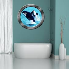 Vwaq Orca Whales Sea Porthole Peel And Stick Vinyl Wall Decal Po13