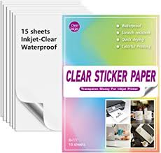 Amazon Com Waterproof Printable Vinyl Sticker Paper For Inkjet Printer 15 Clear White Decal Paper Cricut Sheets A4 Holds Ink Beautifully Dries Quickly Office Products
