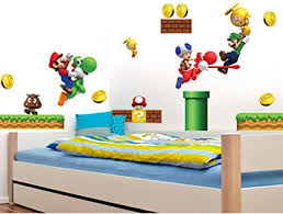 Amazon Com Super Mario Brothers Removable Wall Decals Stickers Kids Room Decoration Build A Scene Peel Arts Crafts Sewing