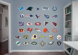 Football Bedroom Nfl Fathead Wall Decals Show Your Love Of All The Teams Visit Us And Follow Us On Pinterest For Man Cave Decor Wall Decals Man Cave Design