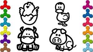 Vẽ con vật quen thuộc   Bé tập vẽ các con vật con Heo, Bò, Vịt, Gà ...