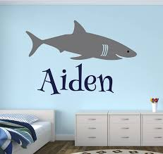 Amazon Com Personalized Name Shark Wall Decal Boy Name Wall Decal Kids Room Decor Shark Wall Decal Nursery Decor 40wx26h Baby