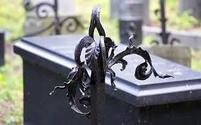 Art Metal Leaves Black Fence Cemetery The Funeral Ornament Decoration Model Metallic Pikist