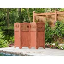 Leisure Season 95 In W X 64 In H Medium Brown Wood Outdoor Privacy Screen In The Outdoor Privacy Screens Department At Lowes Com