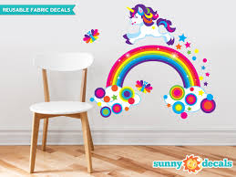 Unicorn And Rainbow Fabric Wall Decal Includes Stars Butterflies Colorful Dots