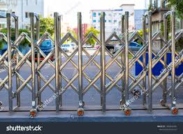 Folding Retractable Fence On Casters Chrome Stock Photo Edit Now 1506818435