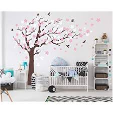 Amazon Com Aiyang Cherry Blossom Tree Wall Decals White Pink Flowers Wall Stickers For Baby Nursery Bedroom Living Room Decoration Coffee Brown Kitchen Dining