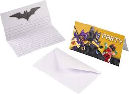 Juego De Tarjetas De Invitacion De 16 Piezas Lego Batman Para