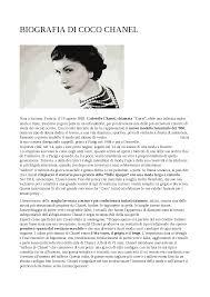 Biografia di Coco Chanel - Docsity