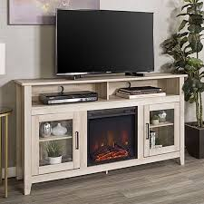 fireplace media tv stand console