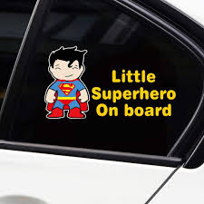 Amazon Com Vylymuses Little Superhero Baby On Board Stickers Funny Batman Dc Comics Reflective Car Stickers Kids Window Decals For Vehicles Vinyl Window Sticker For Car Truck Or Laptop Type B 18x10cm Arts Crafts