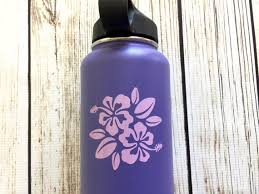 Hibiscus Flower Vinyl Decal Forflask Water Bottle Car Decal Etsy