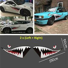 Graphics Decals 2pcs 59 Full Size Shark Mouth Teeth Sticker Vinyl Car Styling Side Door Decal Parts Accessories