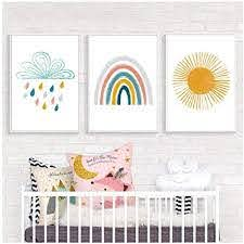 Amazon Com Rainbow Sunshine Cloud Boho Nursery Wall Art Canvas Painting Nordic Posters And Prints Wall Pictures Baby Kids Room Decor 40x60cmx3 Pcs No Frame Posters Prints