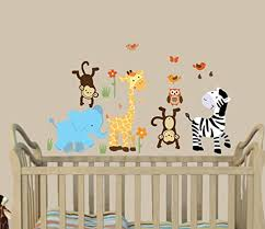 Amazon Com Safari Happy Nursery Wall Decals Jungle Wall Art Animal Wall Art Baby