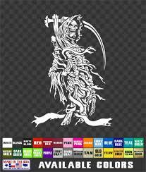 Grim Reaper Sticker Skull Death Scythe Vinyl Decal Laptop Atv Truck Window 5 X7 Ebay