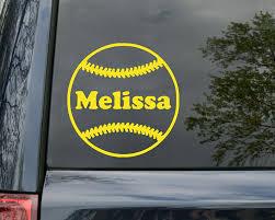 Amazon Com Minglewood Trading Softball Vinyl Decal Sticker With Custom Personalized Name 5 X 5 Yellow Automotive