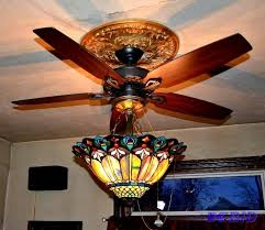 ceiling fan with stained glass globe