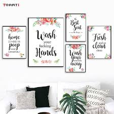 Super Sale Wash Your Worries Away Canvas Painting For Washroom Quotes Floral Modern Poster And Print Bathroom Picture Art Murals Wall Decor