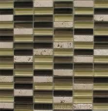 light beige travertine and dark green