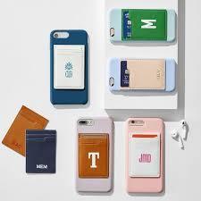Monogrammed Leather Phone Card Holder Sticker Foil Debossed Mark And Graham