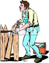 Royalty Free Clipart Image Handyman Repairing A Broken Fence